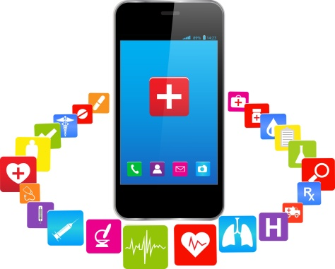 Smart phones and medical icons